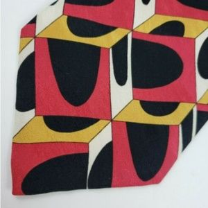 Bachrach Men's Neck Tie Red Yellow Black Abstract